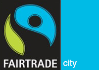 Fairtrades logga med texten Fairtrade city